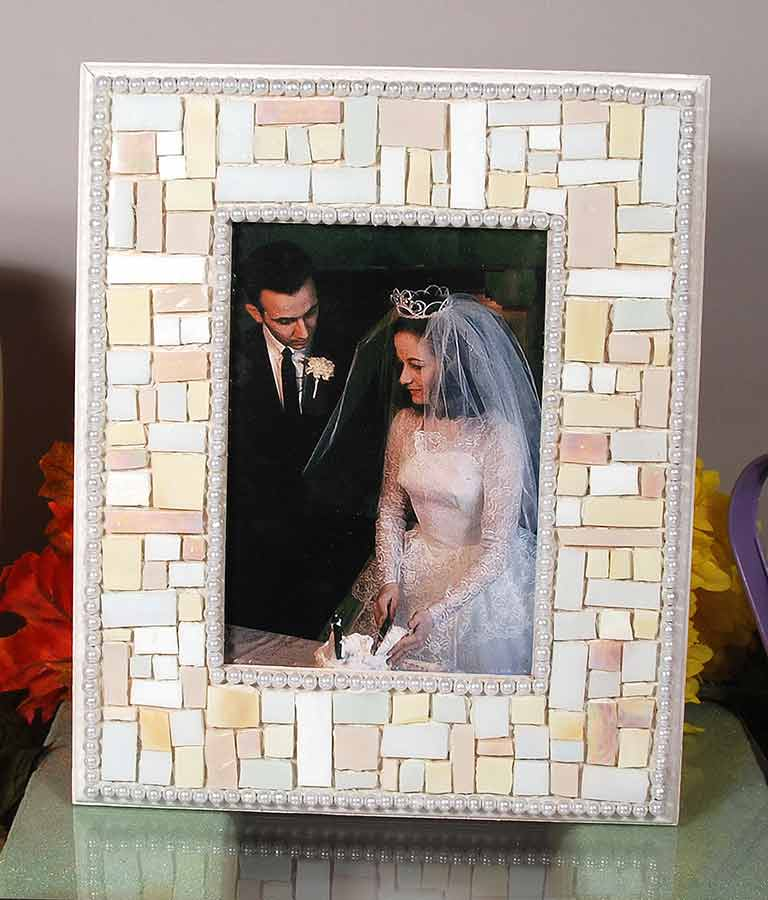 mosaic frame wedding